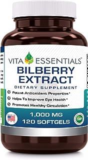 Vita Essentials Softgels, Bilberry Extract, 1000 Mg, 120 Count