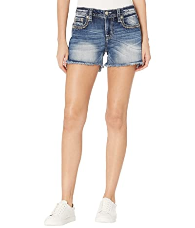 Miss Me Embroidered Horseshoe Mid-Rise Shorts in Medium Blue