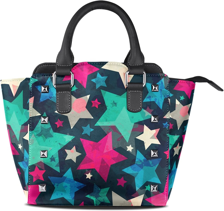 My Little Nest Women's Top Handle Satchel Handbag Retro colorful Star Ladies PU Leather Shoulder Bag Crossbody Bag