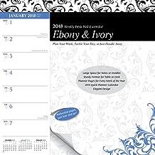 Ebony and Ivory 2018 10 x 10 Inch Weekly Desk Pad Calendar, Black and White Art Artwork Design
