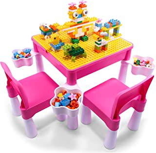 Sponsored Ad - Kids Activity Table and Chair Set with 2 Chairs, Kids Table and Chair Set with Storage Boxes 180pcs Large B...