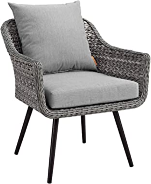 Modway Endeavor Wicker Rattan Aluminum Outdoor Patio Accent Lounge Arm Chair with Cushions in Gray Gray