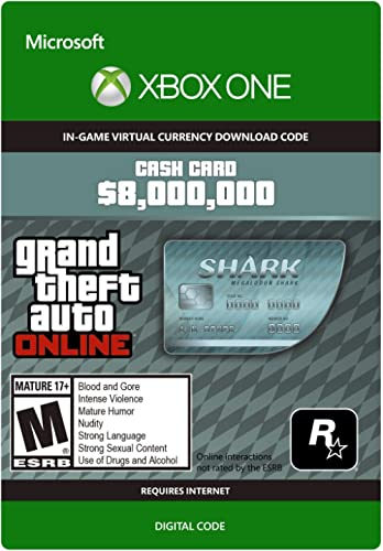 Grand Theft Auto Online | GTA V Megalodon Cash Card | 8,000,000 GTA-Dollars | Xbox One – Code jeu à télécharger