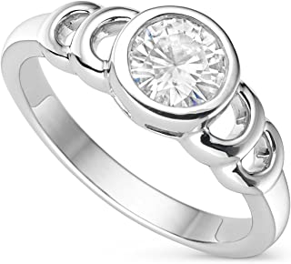 Bezel Set Centric Moissanite & Silver Ring, 0.80cttw DEW by Charles & Colvard