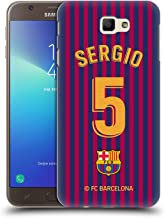 Official FC Barcelona Sergio Busquets 2018/19 Players Home Kit Group 1 Hard Back Case Compatible for Samsung Galaxy J7 Prime 2 2018