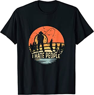 I Hate People Vintage T-shirt Sunset Camping Fishing Lover T-Shirt