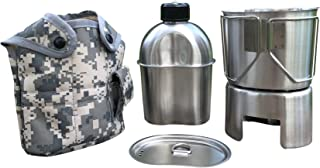 Jolmo Lander G.I.Style Canteen Kit,Canteen 1.2L,Canteen Cup 0.8L, Cup Lid,Stand/Stove,Cover 5pcs Set