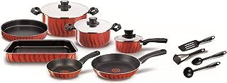 Tefal Tempo Flame Non-Stick 14Pcs Pots and Pans Cooking Set, Red, Aluminum, C5489382