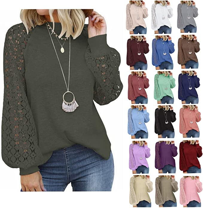 Fudule Long Sleeve Shirts for Women Elegant Lace Crochet Tops Fall Clothes Loose Fit Blouses Casual Lightweight Tunics