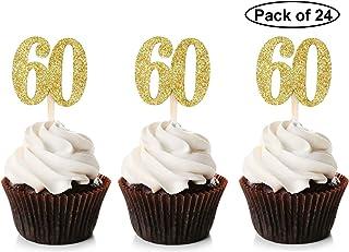 Unimall Global - Lote de 24 palillos para cupcakes (doble cara, 60 unidades), color dorado