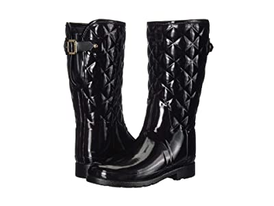 Hunter Refined Gloss Quilt Short Rain Boots (Black) Women
