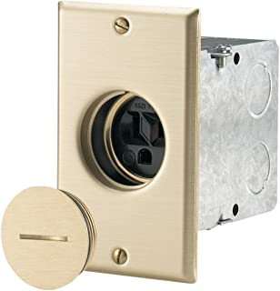 EATON TR5797 Tamper Resistant Floor Box Receptacle, 125 V, 15 A, 2 Pole, 3 Wire, Black And Brass