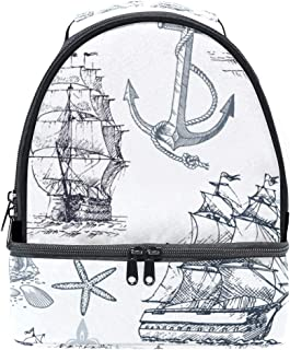 Mydaily Kids Lunch Box Sailboat Anchor Compass Shell Reusable Insulated School Lunch Tote Bag
