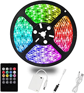 YDZM LED Strip Lights Battery Powered, Waterproof RGB LED Light Strips 20Key Remote Control 6.56ft/2M,5V USB Rope Lights Music Sync Color Changing SMD 2835 for DIY TV Party Outdoor Romantic Lights