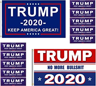 2 Pack President Donald Trump Make America Great, No More Bullshit Yard Sign Lawn Signage Printed Flag 2020 (3 x 5 Feet) with Grommets and 10 Pieces Bumper Stickers Car for Supporting President Trump