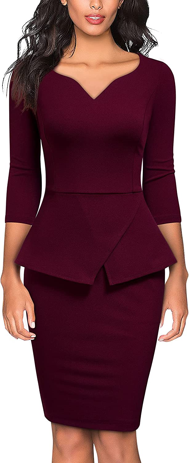 Miusol Women's V-Neck Ruffle Style Cocktail Party Pencil Dress