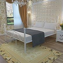 Bed Frame,Metal Bed Frame White 4FT6 Double Bed Frame Solid Bedstead Base Platform with Headboard Footboard Slats Bed for ...