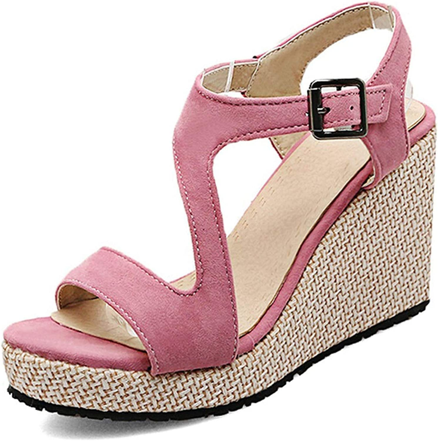 Fairly Wedges Platform Buckle Ladies Summer shoes Classic Fashion shoes Party shoes,Pink,5