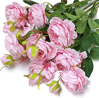 MaxFlowery New Mixed Blooms and Buds Silk English Cabbage Rose Sprays in Classic Pink, Set of 4 (12 Stems), Faux Flowers Greenery for Wedding Home Business Decoration