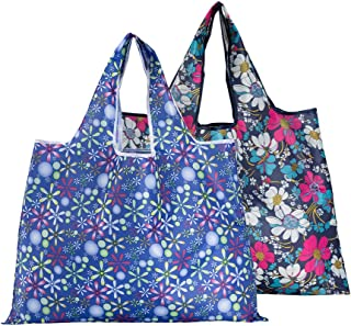 CiCiGo 2 Pack Reusable Shopping Bags, Foldable Grocery Tote Bags with Wide Handle, Large Oxford Cloth Ripstop, Eco-friendl...