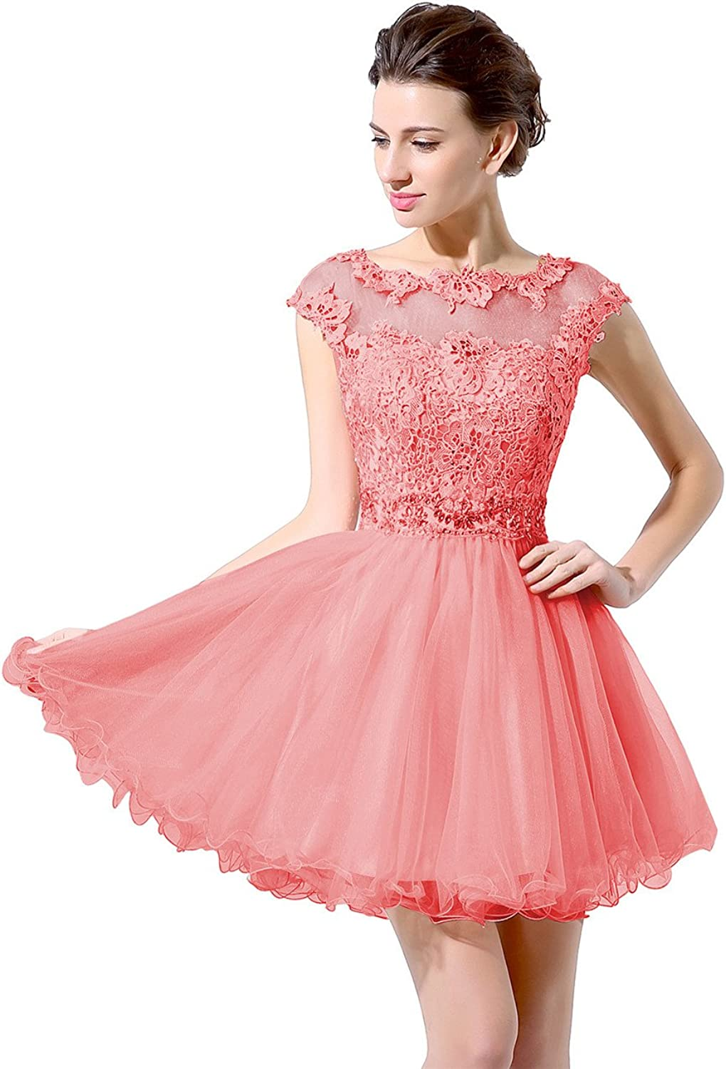 Anmor Women's Short Lace Appliques Cap Sleeves Tulle Homecoming Dress Sequin Prom Cocktail Gown