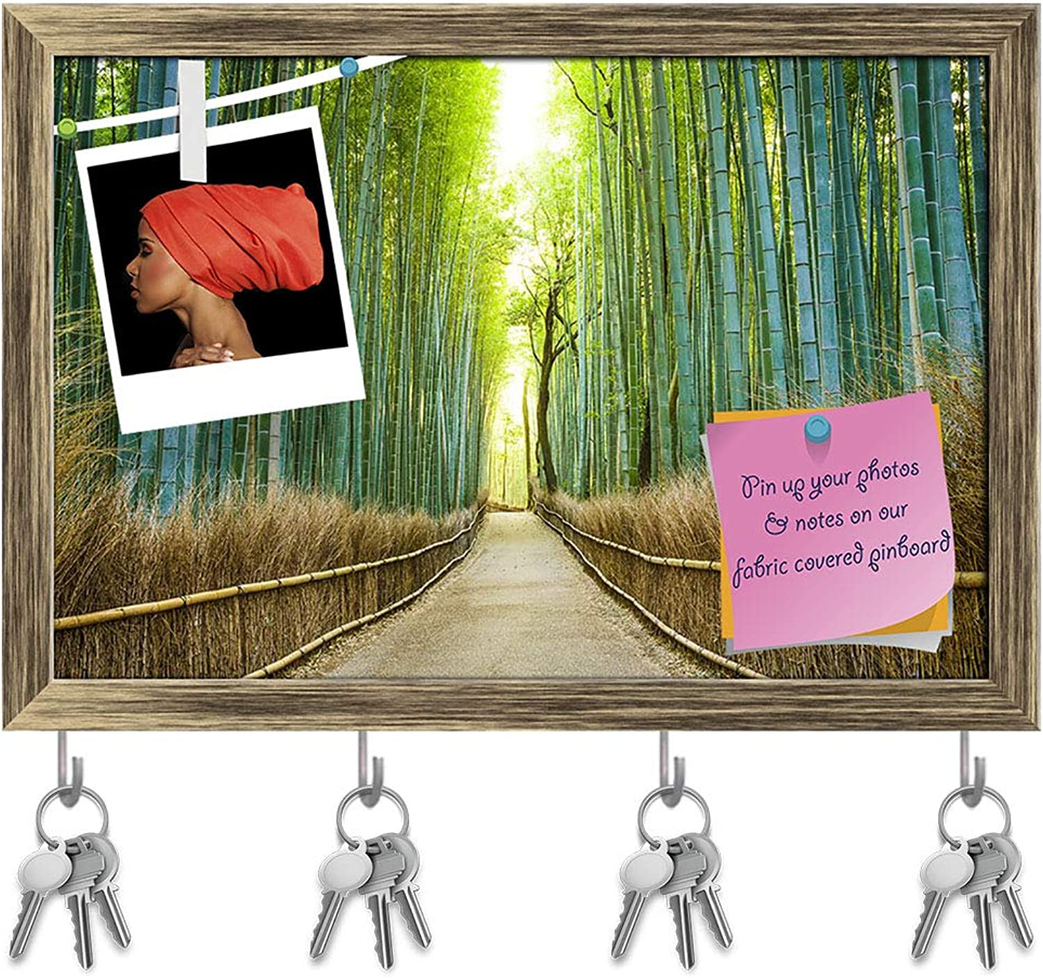 Artzfolio Kyoto Japan Bamboo Forest Key Holder Hooks   Notice Pin Board   Antique golden Frame 17.5 X 12Inch