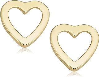 KoolJewelry Minimalist 14k Yellow Gold Small Heart Stud Conch Cartilage Earrings