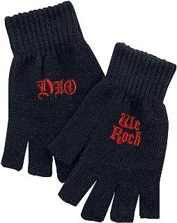 Dio Logo & We Rock Unisex Guantes sin Dedos Negro,
