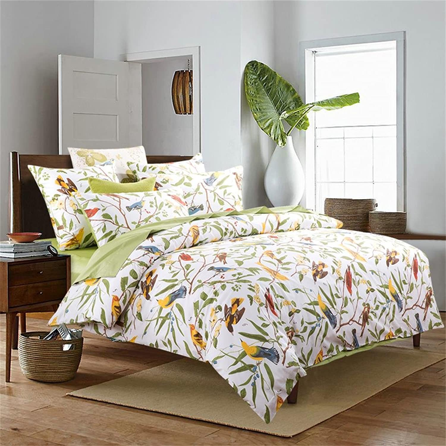 Brandream Beautiful Garden Luxury 3 Piece Duvet Cover Set Island Tree Branch and Birds Multicolord Floral Pattern 100-percent Brushed Cotton Twill (Full,Green)