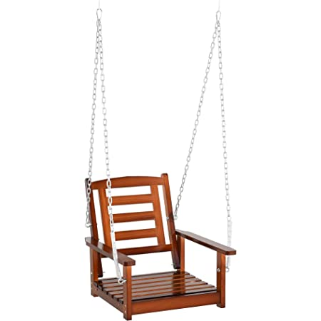 """Outsunny 1-Person Outdoor Patio Swing Chair with Antebellum Style, Wood Finish/Design, & Wide Backrest for Patio & Yard, 23"""" x 27"""" x 24"""", 165 lb"""