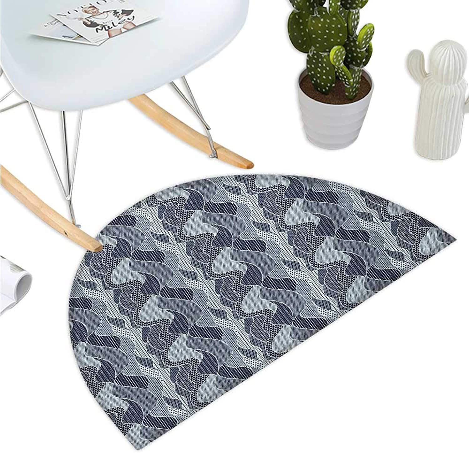 Abstract Semicircular Cushion Wavy Pattern with Circles Curves Dots and Hexagons Swirl Arrangement Halfmoon doormats H 35.4  xD 53.1  Dark bluee and Baby bluee