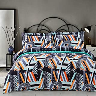 MILDLY Bedding Duvet Cover Sets King Size,100% Egyptian Cotton Duvet Cover with Zipper Closure and 2 Pillow Shams,Abstract Style with Colorful Geometric Pattern Printed,Brooklyn