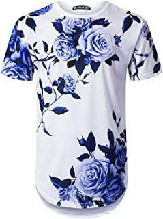 Mens Hipster Hip Hop All Over Floral Graphic Longline T-Shirt