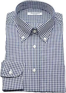 [アントヌーチ] ワイシャツ メンズ 長袖 スリム 綿100 ボタンダウン ギンガムチェック ネイビー 1802-B5