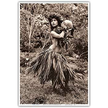 Amazon Com Hawaiian Hula Dancer Ipu Gourd Drum Iv Vintage Sepia Toned Photograph By Alan Houghton C 1960s Master Art Print 13in X 19in Posters Prints