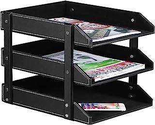 Stacking Letter Trays Leather Office Desk Supply Organizer, 3-Tier Files Sorter Workplace Desktop Storage Holder for Docum...