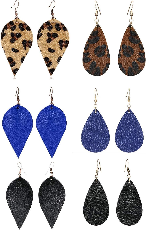 Girls 6 Pairs Leather Earrings Lightweight Faux Leather Leaf Earrings Teardrop Dangle Handmade for Women