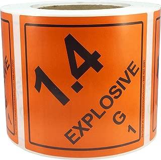 Hazard Class 1 D.O.T. Explosives 1.4G Hazmat Labels 4x4 Inch Square 500 Adhesive Labels