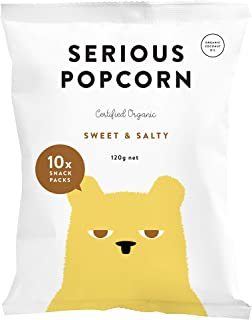 SERIOUS Popcorn Sweet & Salty | Healthy Organic Snack Made with Coconut Oil | Ready to Eat Popcorn | Vegan | Gluten Free | 8 x 10 Pack 12g Lunchbox Packs Box