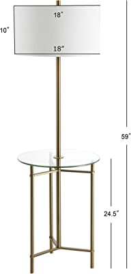 "JONATHAN Y JYL3059A Charles 59"" Metal/Glass LED Side Table and Floor Lamp Contemporary,Transitional for Bedrooms, Living Room, Office, Reading, Brass Gold"