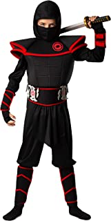 Kids 12pc Deluxe Ninja Costume for Boys & Girls Sizes XS S M L