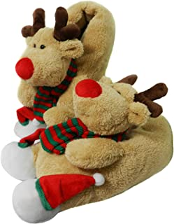 Fuzzy Indoor Animal Christmas Moose Slippers for Men and Women