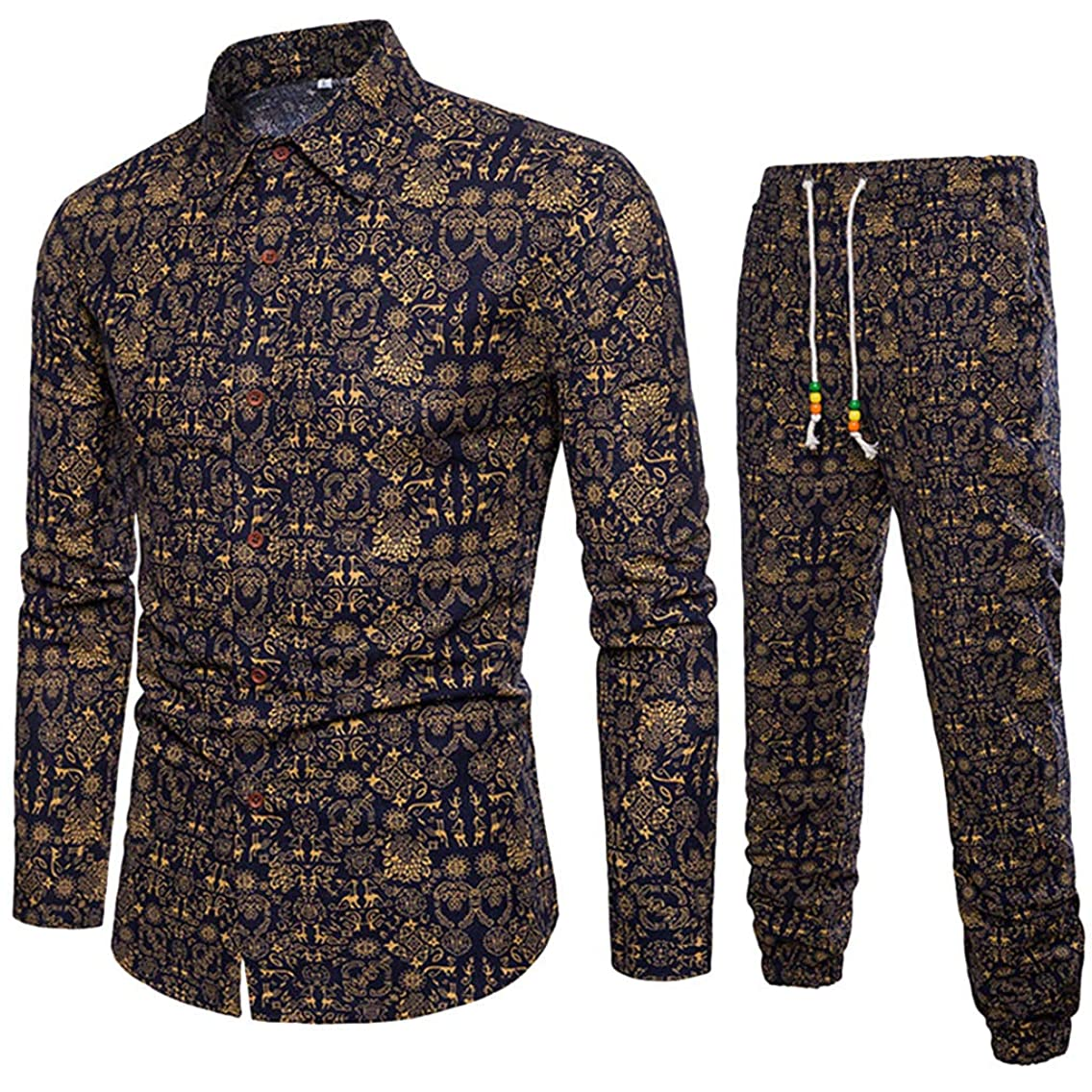 AmyDong Men's Casual Long Sleeve Business Slim Fit Shirt Ethnic Style Printed Blouse Top+Pants Cotton Linen Jacket Pants Suit