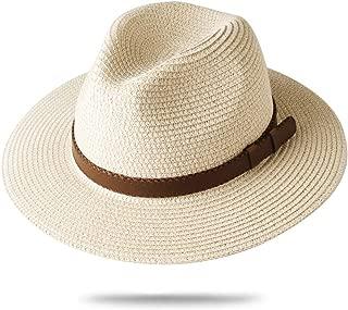 Panama Hat Sun Hats for Women Men Wide Brim Fedora Straw Beach Hat UV UPF 50