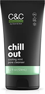 C&C by Clean & Clear Chill Out Cooling Mint Pore Facial Cleanser, Oil Free, Minty Fresh, Removes Dirt and Oil, Face Wash, ...