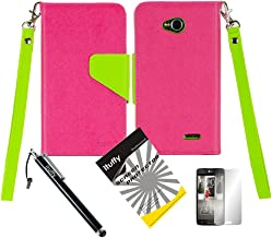 3 items Combo: ITUFFY (TM) LCD Screen Protector Film + Stylus Pen + 2-Tone Magnetic Flip Closure PU Leather Wallet Case /w ID Card Slots, Stand Function and Lanyard for MetroPCS LG Optimus L70 MS323 / Verizon LG Optimus Exceed II VS450pp / Dual D325 D320N / Boost Mobile LG Realm LS620 / Virgin Mobile LG Pulse / TracFone Net 10 LG Ultimate2 L41c (Hot Pink / Green)