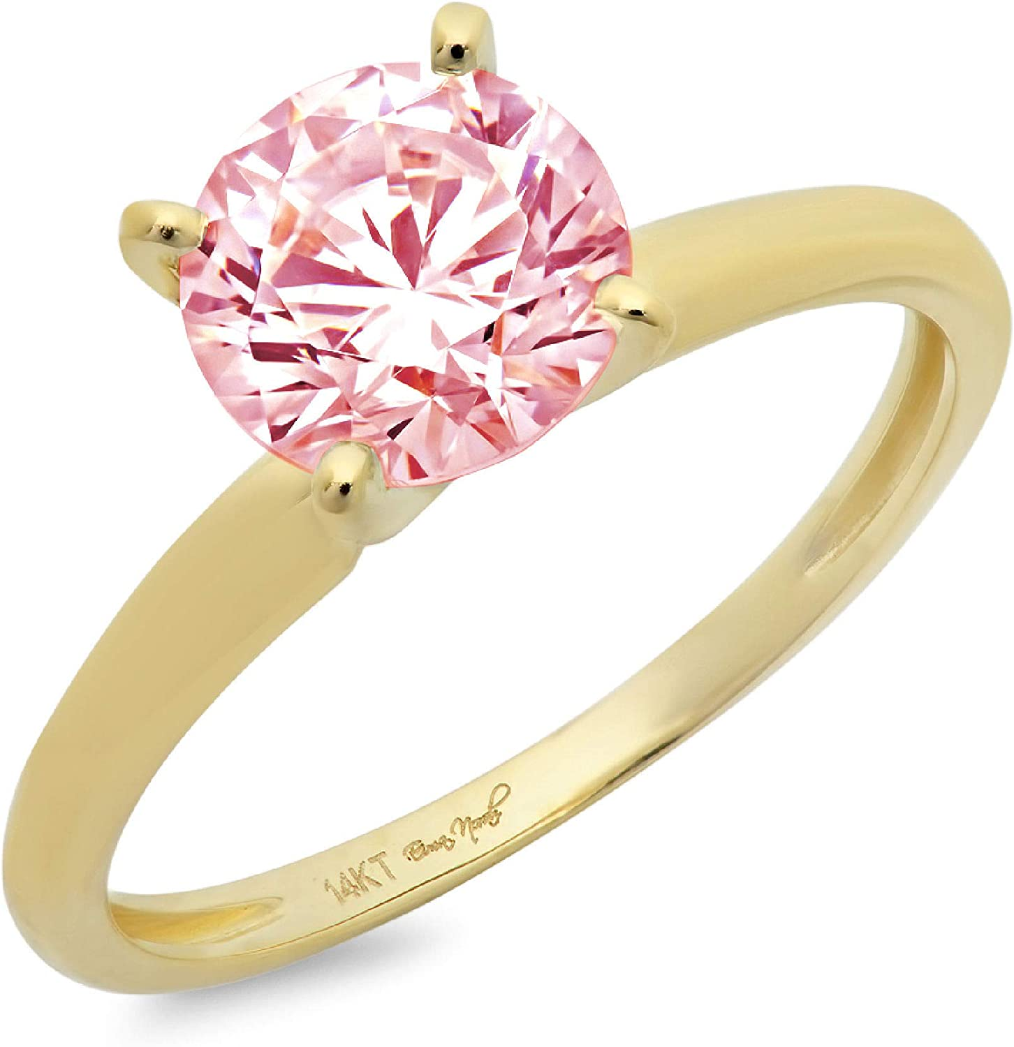 2.45ct Brilliant Round Cut Solitaire Light Pink Simulated Diamond CZ Ideal VVS1 D 4-Prong Classic Designer Statement Ring Real Solid14k Yellow Gold for Women