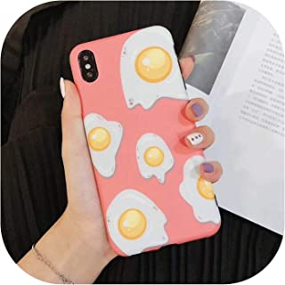 Phone Case for iPhone 6 6S 7 8 Plus X XR XS MAX Fried Egg Pattern Matte Soft IMD Graphic Phone Case Cover Fundas Shells,Pink,for iPhone 8 Plus