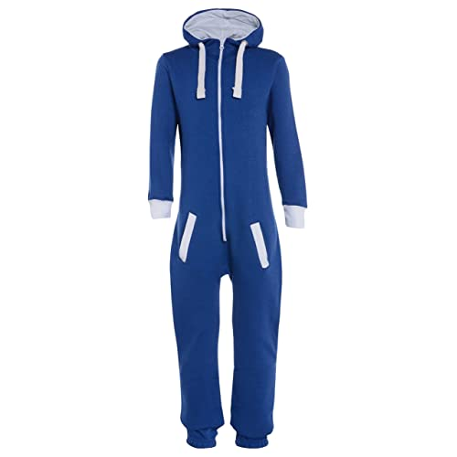 7a0dd668c Childrens Unisex Boys Girls Kids Plain Onesie Hooded All In One Jumpsuit  Ages 7/8