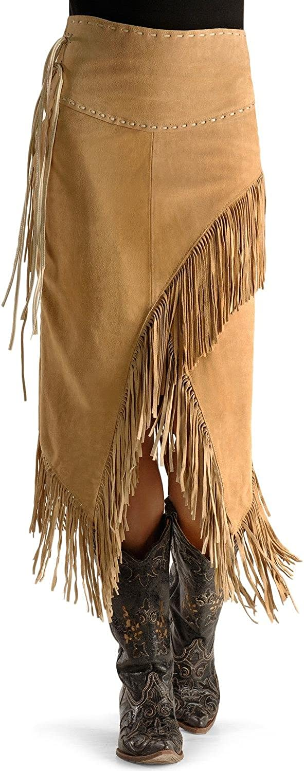 Scully Women's Asymmetrical Fringe Suede Leather Skirt